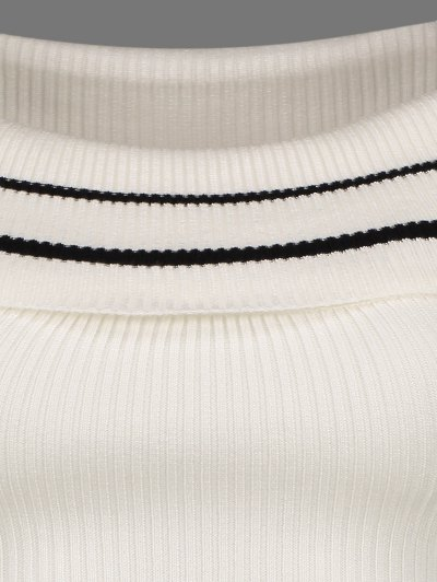 Foldover Off The Shoulder Sweater - STRIPE ONE SIZE Mobile