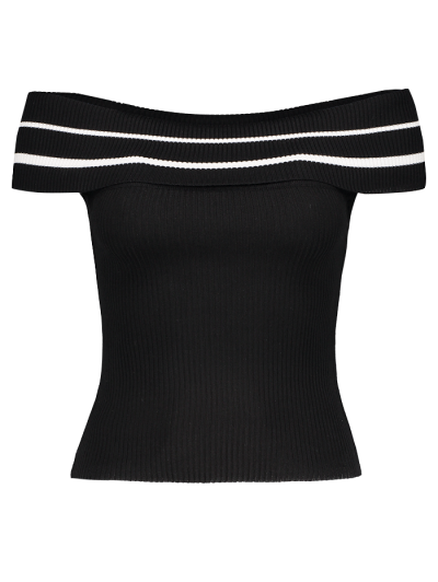 Foldover Off The Shoulder Sweater - BLACK STRIPE ONE SIZE Mobile