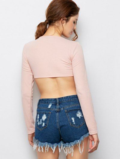Long Sleeved Lace Up Crop Top - PINK L Mobile