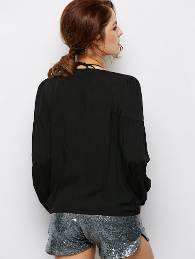 Crossover Draped Top - BLACK L Mobile