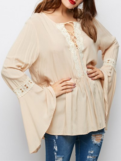 Lace Up Bell Sleeve Trapeze Top - OFF-WHITE XL Mobile