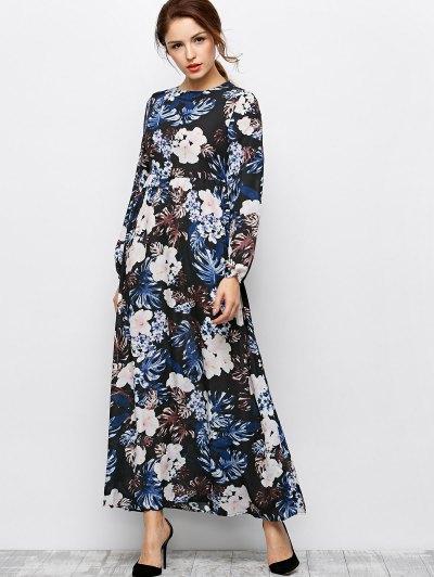 Printed Maxi Dress - BLACK M Mobile