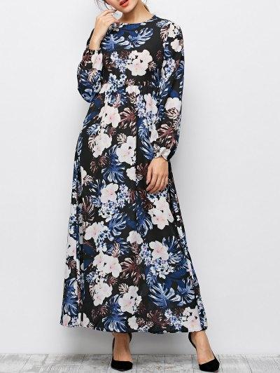 Printed Maxi Dress - BLACK S Mobile