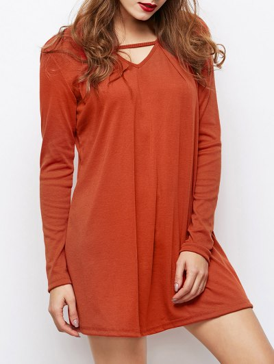 Long Sleeves Swing V Neck Dress - DARK AUBURN 2XL Mobile