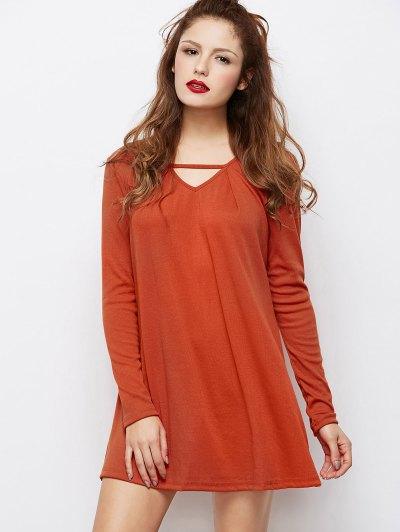 Long Sleeves Swing V Neck Dress - DARK AUBURN XL Mobile