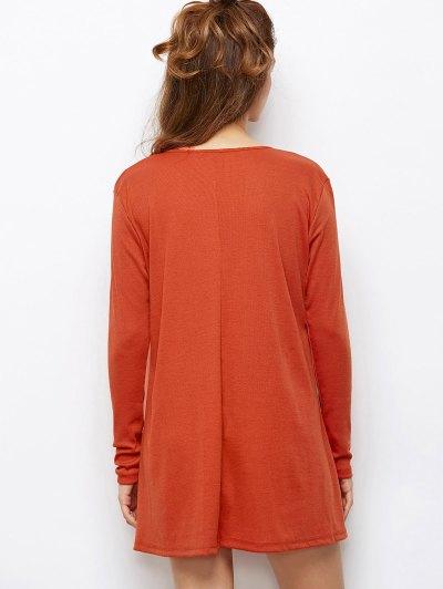 Long Sleeves Swing V Neck Dress - DARK AUBURN L Mobile