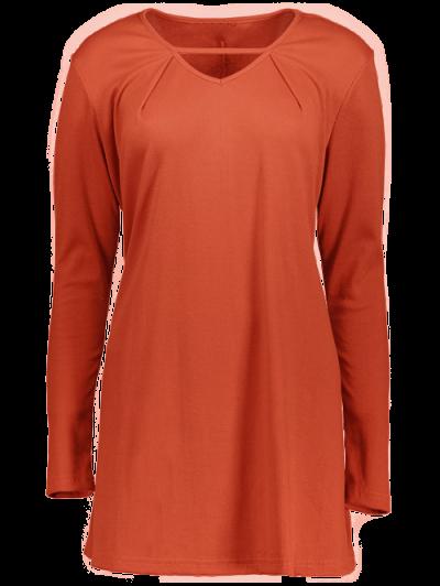 Long Sleeves Swing V Neck Dress - DARK AUBURN M Mobile