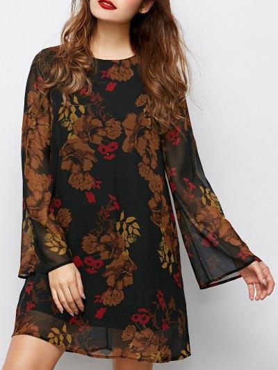 Bell Sleeves Printed Dress - BLACK L Mobile