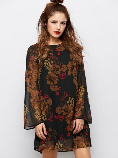 Bell Sleeves Printed Dress - BLACK M Mobile