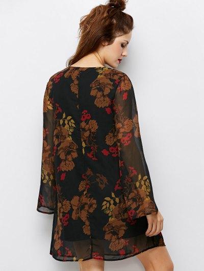 Bell Sleeves Printed Dress - BLACK S Mobile