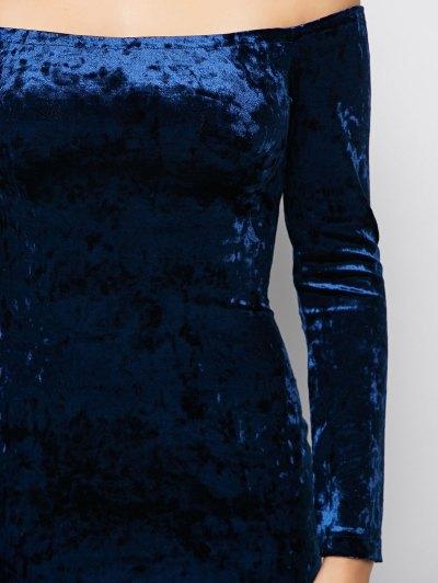 Long Sleeve Velvet Choker Dress - BLUE 2XL Mobile