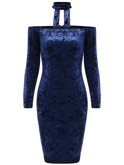 Long Sleeve Velvet Choker Dress - BLUE XL Mobile