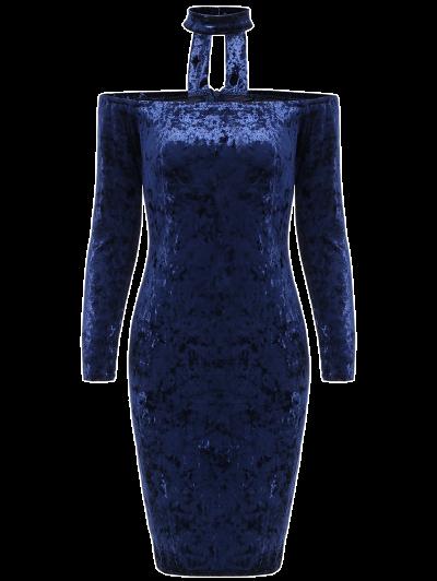 Long Sleeve Velvet Choker Dress - BLUE S Mobile