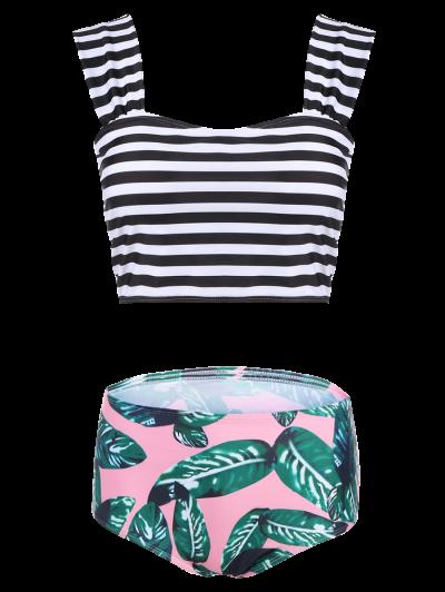 Palm Leaf Striped Off The Shoulder Bikini - MULTICOLOR M Mobile