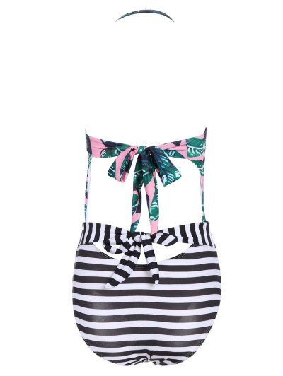 Stripe Palm Leaf Print Bandeau Swimsuit - PINK AND WHITE L Mobile