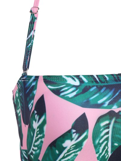 Stripe Palm Leaf Print Bandeau Swimsuit - PINK AND WHITE S Mobile