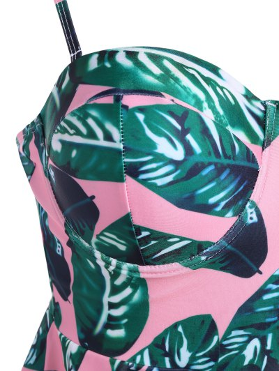 Palm Leaf Underwire Peplum Tankini - PINK + GREEN L Mobile