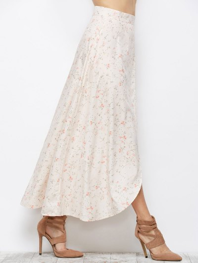 Asymmetrical Floral Skirt - PINK S Mobile