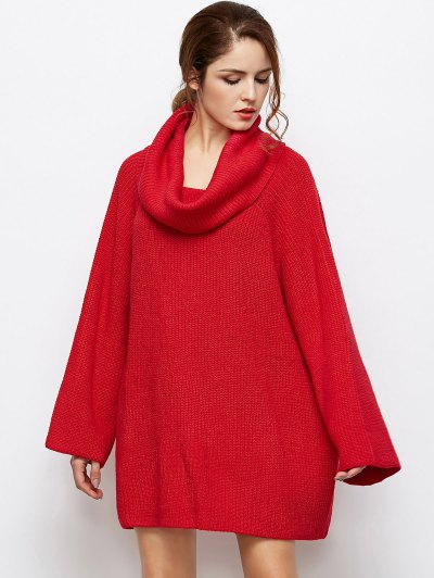 Oversized Chunky Sweater - RED L Mobile