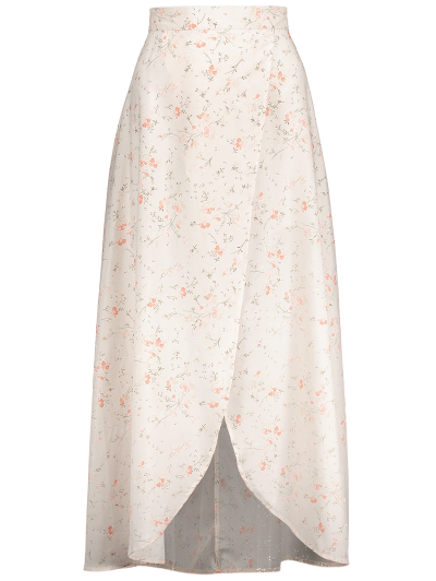 Asymmetrical Floral Skirt - PINK 2XL Mobile