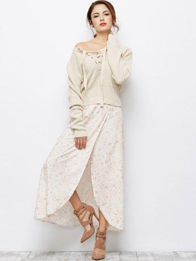 Asymmetrical Floral Skirt - PINK XL Mobile