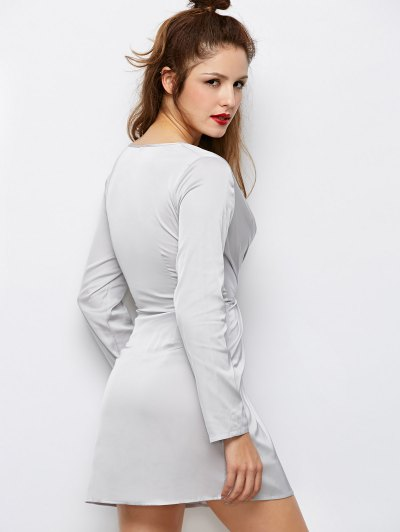 Plunging Neck Wrap A-Line Dress - GRAY M Mobile