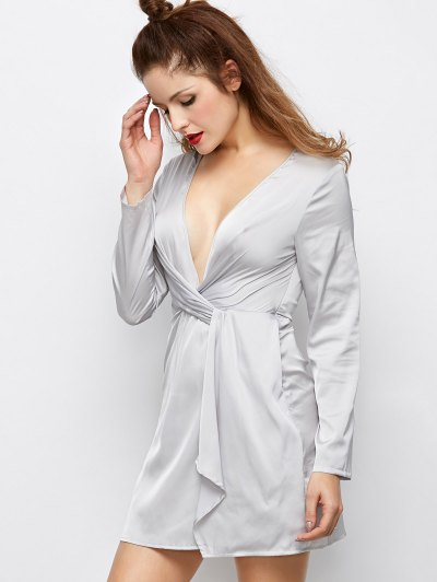 Plunging Neck Wrap A-Line Dress - GRAY S Mobile