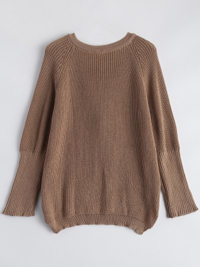 High Low Lace-Up V Neck Sweater - DARK KHAKI S Mobile