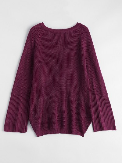 High Low Lace-Up V Neck Sweater - BURGUNDY L Mobile