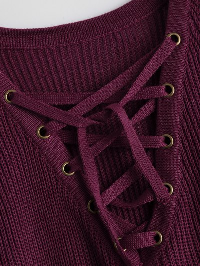 High Low Lace-Up V Neck Sweater - BURGUNDY M Mobile