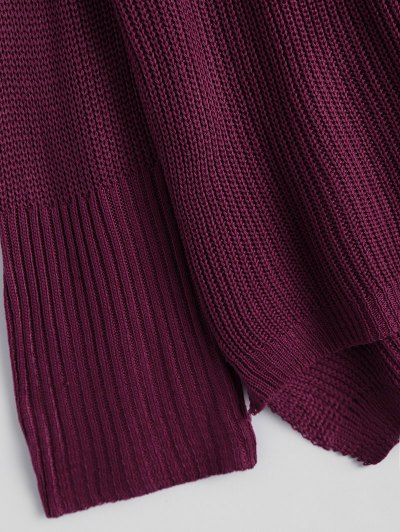 High Low Lace-Up V Neck Sweater - BURGUNDY S Mobile
