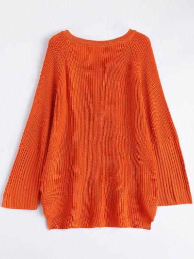 High Low Lace-Up V Neck Sweater - JACINTH L Mobile