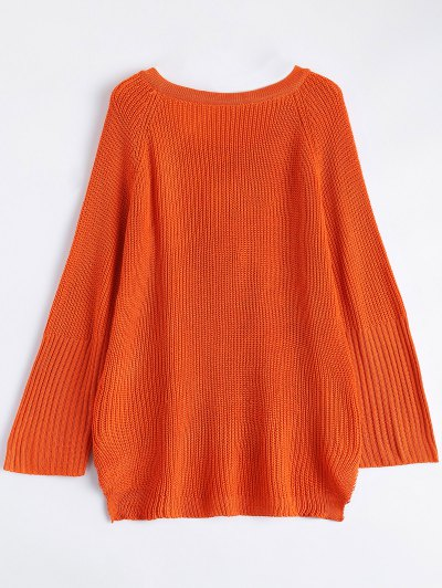 High Low Lace-Up V Neck Sweater - JACINTH S Mobile