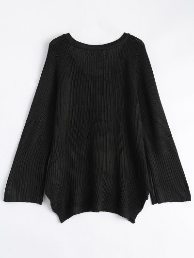 High Low Lace-Up V Neck Sweater - BLACK M Mobile
