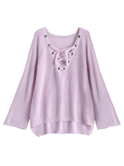 High Low Lace-Up V Neck Sweater - PINK L Mobile