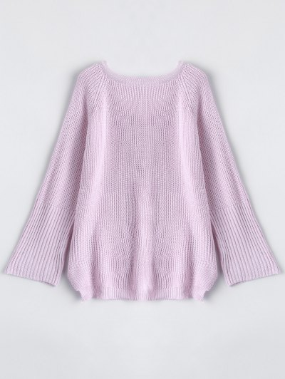 High Low Lace-Up V Neck Sweater - PINK S Mobile