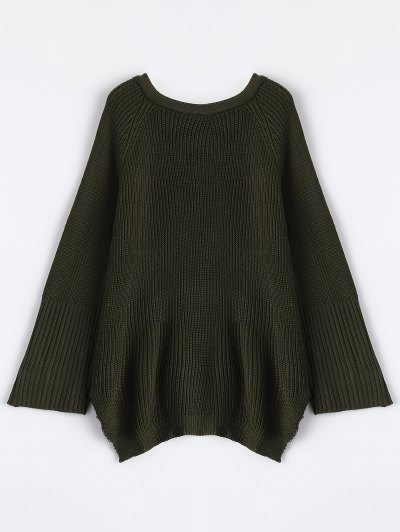 High Low Lace-Up V Neck Sweater - ARMY GREEN M Mobile