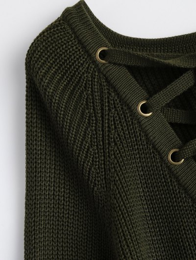 High Low Lace-Up V Neck Sweater - ARMY GREEN S Mobile