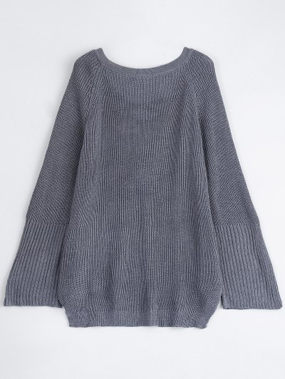 High Low Lace-Up V Neck Sweater - GRAY S Mobile
