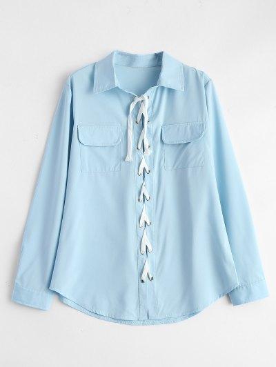 Lace-Up Shirt - LIGHT BLUE XL Mobile