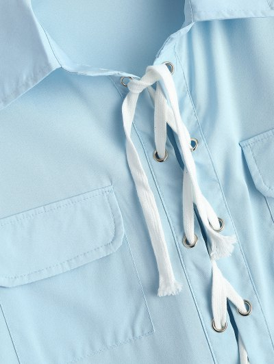 Lace-Up Shirt - LIGHT BLUE M Mobile