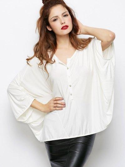 Dolman Sleeve V Neck Loose Blouse - WHITE XL Mobile