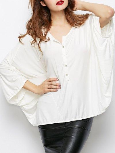 Dolman Sleeve V Neck Loose Blouse - WHITE L Mobile