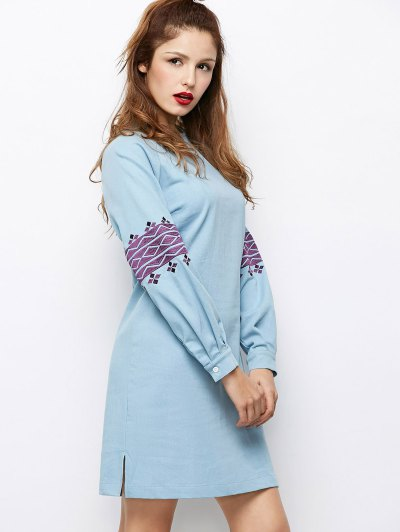 Embroidered Puff Sleeve Dress - LIGHT BLUE L Mobile