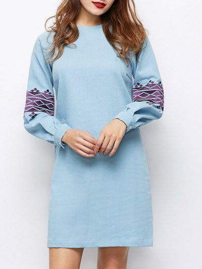 Embroidered Puff Sleeve Dress - LIGHT BLUE M Mobile