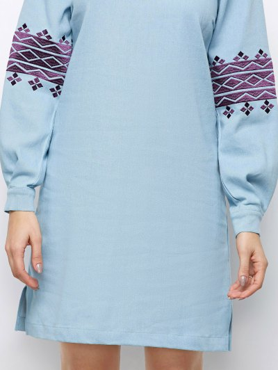 Embroidered Puff Sleeve Dress - LIGHT BLUE S Mobile