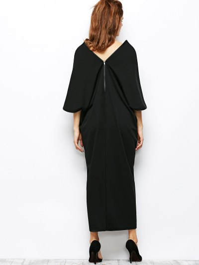 Zippered V Neck Loose Maxi Dress - BLACK L Mobile