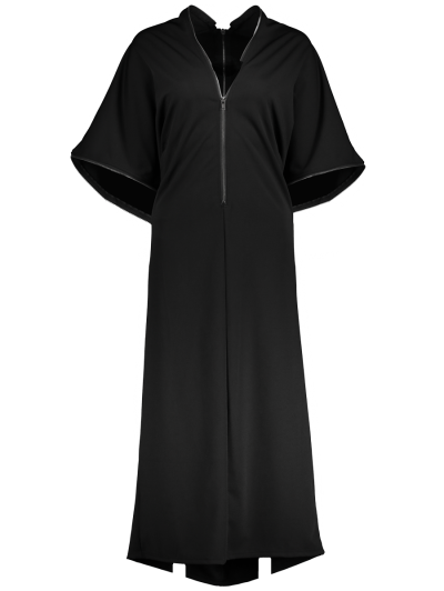 Zippered V Neck Loose Maxi Dress - BLACK M Mobile
