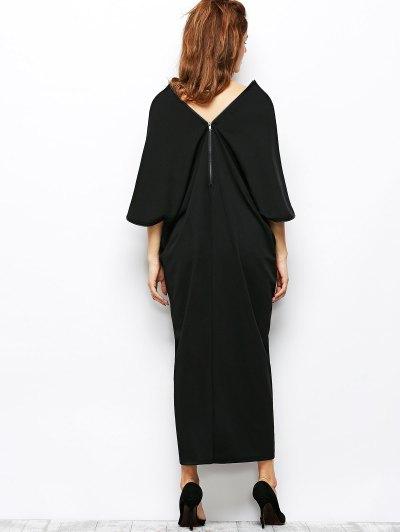 Zippered V Neck Loose Maxi Dress - BLACK S Mobile