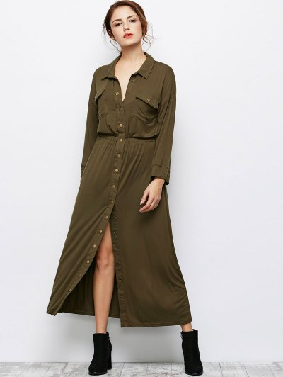 Maxi Single Breasted Shirt Dress - ARMY GREEN XL Mobile